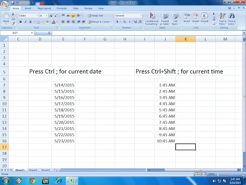 Shortcut key to Insert Date and Time in MS Excel