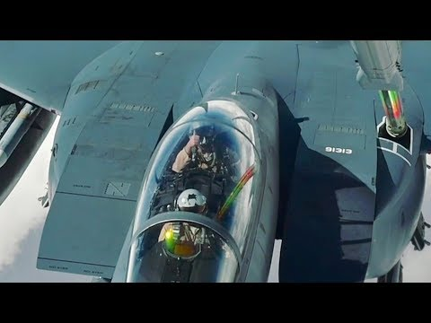 Small Talk During Mid-air Refuelling: KC-10 Refuels F-15 Eagles