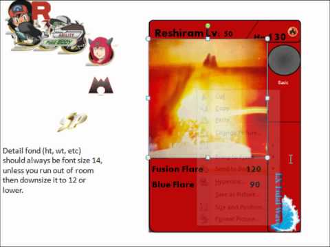 Snivapoke tutorials - how to make a (custom template) pokemon card using ms powerpoint