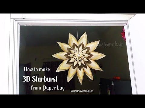 How to make paper bag 3D starburst, paper bag star, Christmas decoration idea,3d star 🌟paper crafts
