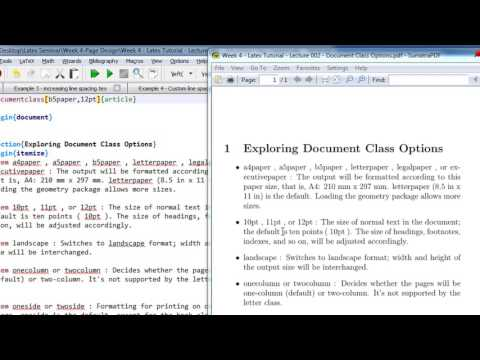 Week 4   Latex Tutorial   Lecture 002   Document Class Options