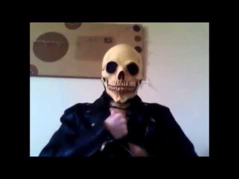 Putting on and taking of Ghost Rider Skeleton latex mask