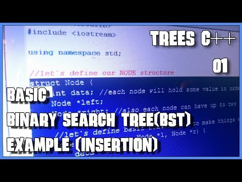 C++ Binary Search Tree (BST) insertion example