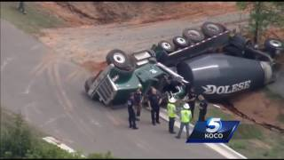 Sky 5 flies over concrete truck crash in OKC