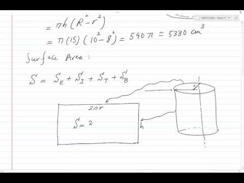 Volume and surface area of a hollow cylinder