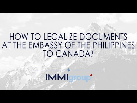 How to legalize documents at the Embassy of the Philippines to Canada?