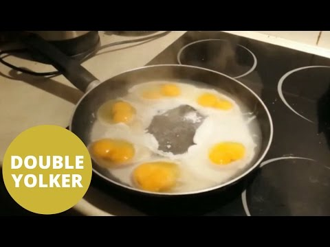 shell-shocked man cracks six double-yolk eggs in a row