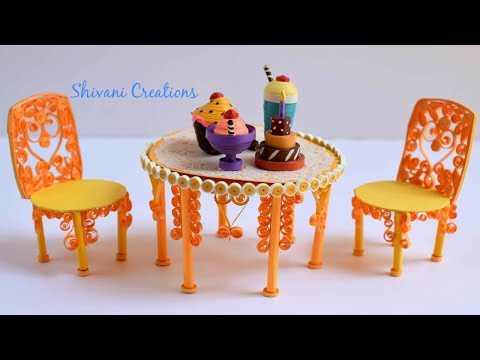Miniature Quilling Dining Table and Chair/ Quilling Show Piiece