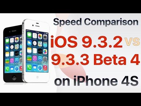 iPhone 4S : iOS 9.3.2 vs iOS 9.3.3 Beta 4 / Public Beta 4 Build 13G33 Speed Test