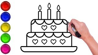 Excellent Drawing A Simple Birthday Cake How To Draw Cake Drawing For Kids Personalised Birthday Cards Paralily Jamesorg