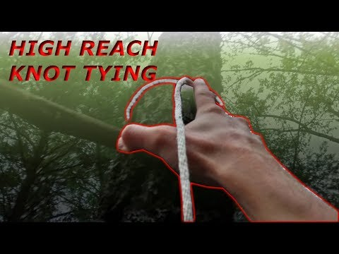 High Reach Extended Arm Tip-Toe Knot Tying Technique/Skill -  Cross bar against Tree