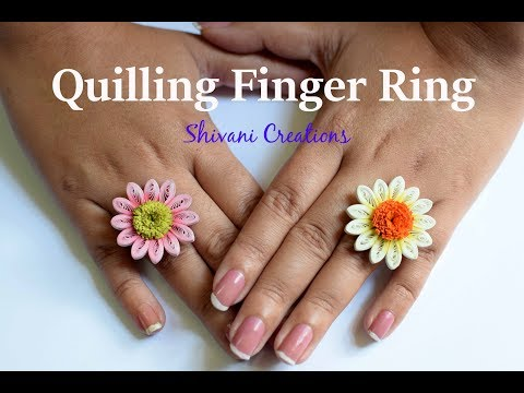 Quilling Flower Finger Ring/ Quilled Gerbera Flower/ Quilling Jewellery