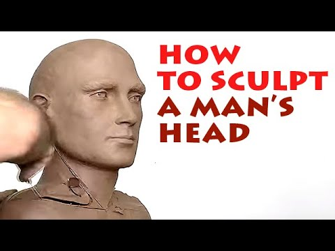 Alexander Cherkov demonstrates male head sculpture of clay - step by step