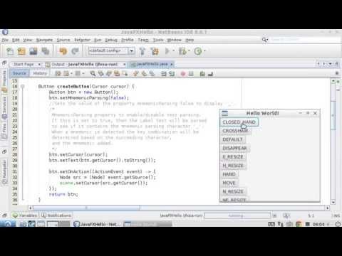 JavaFX example, setCursor() and getCursor()