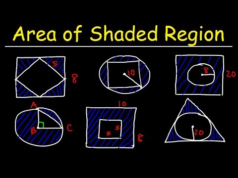 Area of Shaded Region - Circles, Rectangles, Triangles, & Squares - Geometry