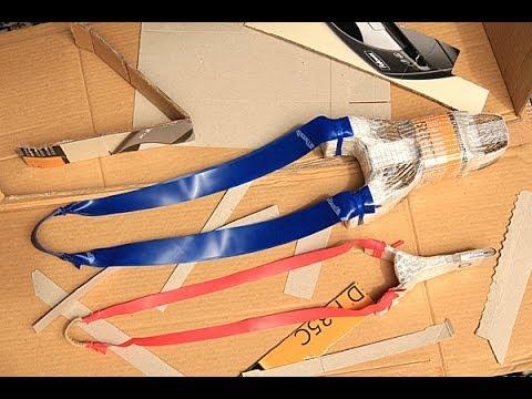 Slingshot tutorial - how to make a very powerful cardboard slingshot