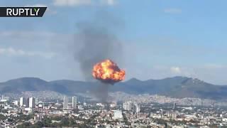 Download Huge fireball as Mexico City liquor factory explodes Video