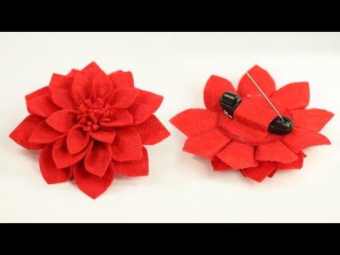 DIY Crafts - Felt Flower Brooch Pin Step by Step Tutorial