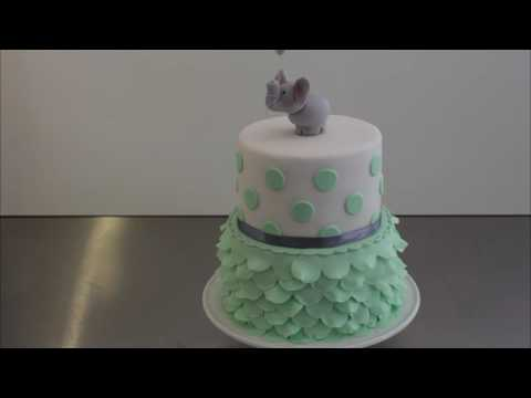 Cute & easy Babyshower Cake with Fondant ruffles & gumpaste Elefant - Gcf