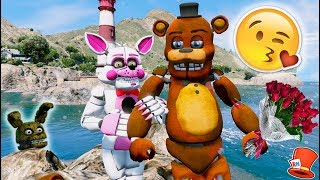 FIRST ANIMATRONIC DATE! WITHERED FREDDY & FUNTIME FOXY! (GTA 5 Mods For Kids FNAF RedHatter)