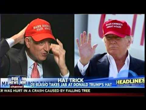Hat Trick - De Blasio Takes Jab At Donald Trump's Hat - Fox & Friends