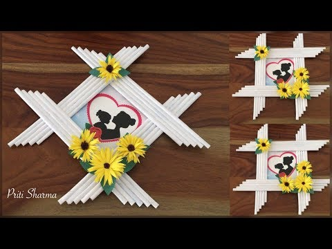 Awesome Photo Frame Out Of Newspaper Sticks And Paper Flower / DIY / Paper Craft   Priti Sharma