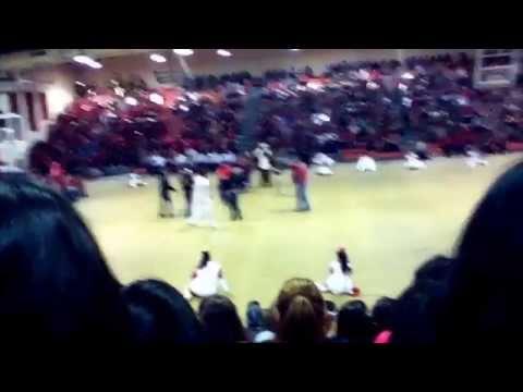 My high school pep rally / kiss the pig