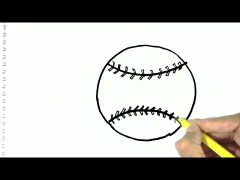How to draw a Baseball ball- in easy steps for children. beginners