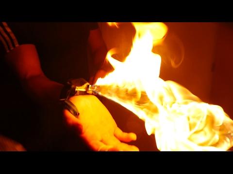 INSANE FLAMETHROWER In a Bracelet?!?! - Mini SPY Flamethrower IRL!!!