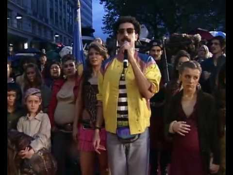 Borat (Sacha Baron Cohen) sings the Kazakhstan national anthem