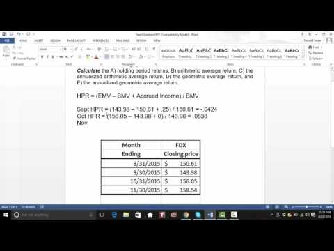 Calculating HPR, Arithmetic and Geometric Averages