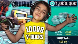 1 KILL = 10000 V-BUCKS CHALLENGE WITH MY 5 YEAR OLD LITTLE BROTHER! | KID WINS V-BUCKS IN FORTNITE