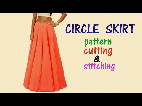 Circle skirt with elastic waistband| Circle skirt drafting, cutting and stitching