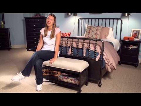 Black & White Metal Bed Bench