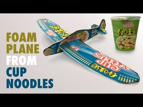Foam Glider Plane from Cup Noodles - DIY