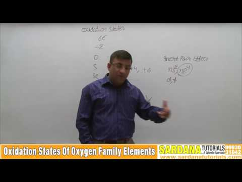 Oxidation States Of Oxygen Family Elements