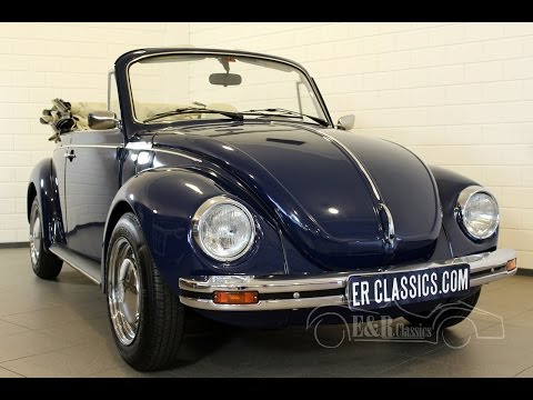 Volkswagen Beetle convertible 1303 dark blue in fabulous condition -VIDEO- www.ERclassics.com
