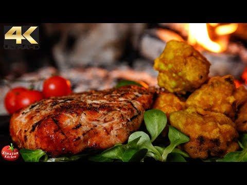 ASMR Grilled Turkey Steak & Deep Fried Broccoflower