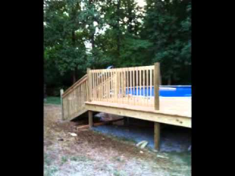 24' Above Ground Pool and Custom Deck Project - Slideshow from start to finish
