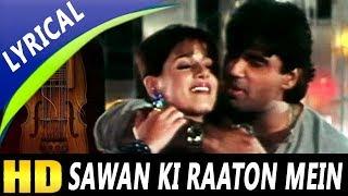 Sawan Ki Raaton Mein With Lyrics   Abhijeet, Kavita Krishnamurthy  Ek Tha Raja 1996 Songs   Neelam