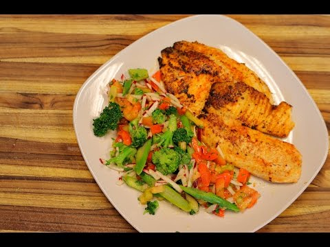 Cajun Tilapia and Vegetable Salad - low carb fish recipes - keto diet - how to fry tilapia - ketones