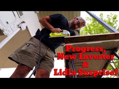 Van Life; Progress, New Inverter & Lidia Surprise! The Lance Camper Solar Project! Part 5