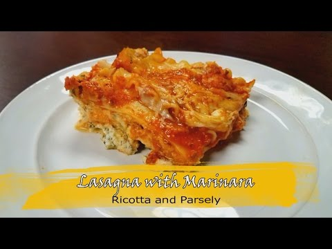 Three Cheese Lasagna with Marinara and Parsley