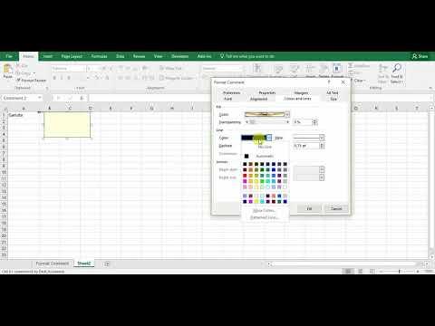 Format Comment Excel