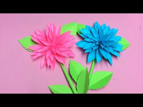 How to Make Dahlia Flower with Paper | Making Paper Flowers Step by Step | DIY-Paper Crafts