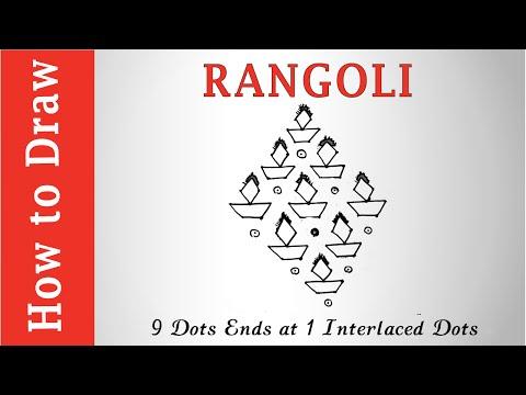 Rangoli for Dipawali : 9 Dots Ends at 1 interlaced Dots