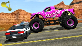 Monster Truck police Road block Crashes BeamNG.Drive #1