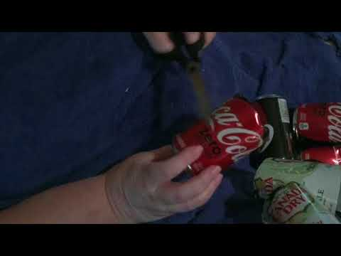 How to cut a soda can for crafting.