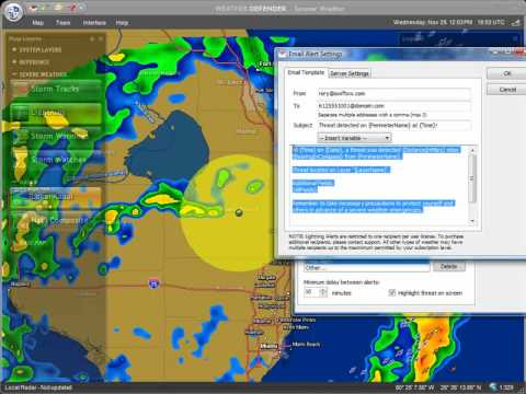 Receive Weather Alerts by E-mail or Cellphone in Weather Defender