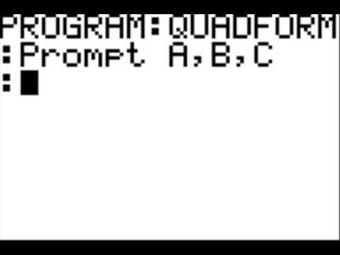 TI-84 Calculator Quadratic Formula Program